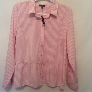 The Limited striped peplum button down shirt Sz XL